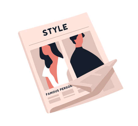 Fashion newspaper with crumpled page vector flat illustration. Paper magazine sheet with stylish man and woman image isolated on white background. Cartoon periodical publication of various articles