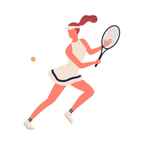 Colorful sportswoman big tennis player demonstrate smash vector flat illustration. Professional sports female holding racket and hitting ball isolated on white. Girl character in sportswear 向量圖像