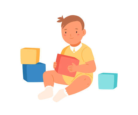Cheerful smiling girl sitting holding colorful cubes vector flat illustration. Adorable baby playing developing toy isolated on white background. Happy kid having fun enjoying childhood