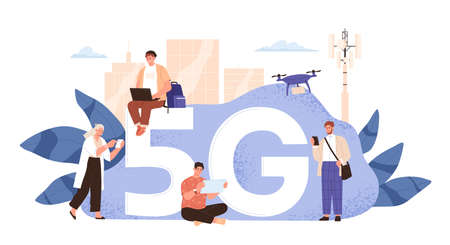 Modern people use wireless high speed internet vector flat illustration. Man and woman with smartphone, laptop, tablet and drone at cityscape telecommunication tower isolated on white. 5g concept Vettoriali