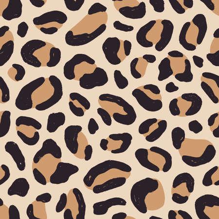 Luxury leopard fur texture seamless pattern vector flat illustration. Colorful spotted exotic print. Elegant natural predator wallpaper. Fashionable decorative textile. Stylish cheetah coat