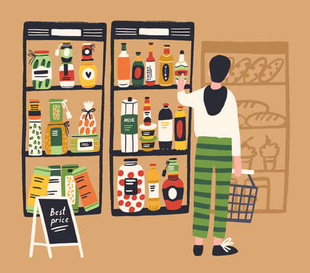 Man shopper with basket choosing product at grocery store vector flat illustration. Male enjoying shopping at supermarket taking bottle from best price shelf. Guy buyer purchasing food at retail shop