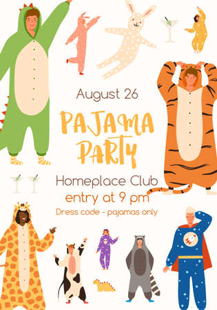 Announcement of pajama party poster vector flat illustration. Colorful man and woman in funny onesies representing various animals and characters. Promo of theme holiday with place for text