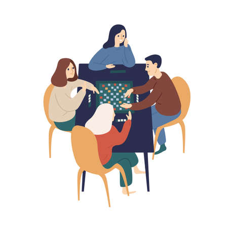 Smiling family playing board game with chips vector flat illustration. Happy people sitting at table enjoying home leisure isolated on white background. Cute man and woman spending time together Ilustração