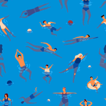 People swims in swimming pool performing water activities seamless pattern. Active man, woman and children wearing swimsuit rest at sea vector flat illustration. Relaxed person enjoying recreation