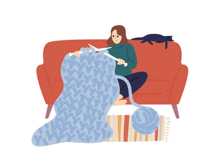Domestic woman knit hold knitting needles and clew of thick yarn vector flat illustration. Creative female enjoying handmade hobby sit on comfy sofa isolated on white. Joyful lady use merino wool Illustration