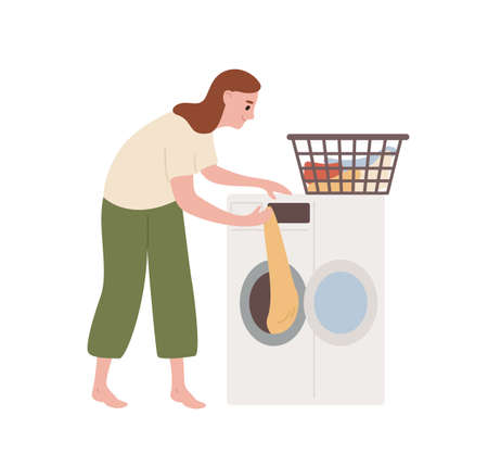 Cheerful female take out clean clothes from washing machine vector flat illustration. Smiling woman doing laundry at home isolated on white background. Everyday routine of modern housewife