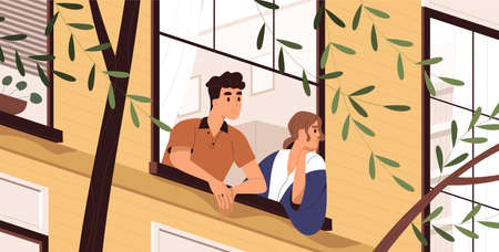 Man and woman looking out the window, breathing fresh air, thinking and contemplating. People stay at home during quarantine and enjoying good spring weather. Vector illustration in flat cartoon style.