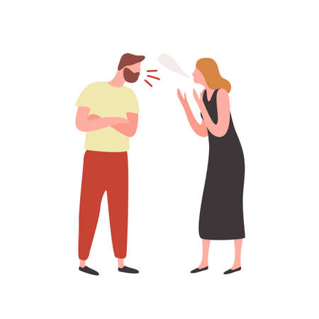 Bearded irritated guy and angry woman scream each other vector flat illustration. Conflict between couple isolated on white background. Quarrel of shouting male and female characters
