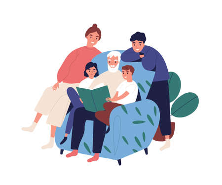 Grandfather and relatives reading book sitting on armchair vector flat illustration. Big happy family spending time together isolated on white. Old man with children and grandchildren relax at home. Ilustración de vector