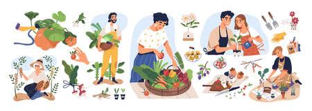 Ensemble de personnes différentes apprécient le jardinage et la plantation d'illustrations vectorielles à plat. Homme et femme avec des fruits et légumes frais isolés sur blanc. Agriculteurs et jardiniers faisant un travail ou un passe-temps agricole