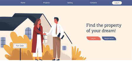 Real estate agency web banner template colorful vector flat illustration. Woman customer and man agent shaking hands conclude successful deal. Modern advertisement of property selling
