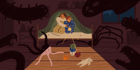 Scared children sit on bed under blanket with flashlight vector flat illustration. Little girls afraid shadow of imaginary ghosts and monsters in bedroom. Concept of kids night nightmare and fears Illustration