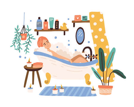 Relaxed woman lying at cozy bathroom with foam bubbles vector flat illustration. Joyful female taking bath surrounded by candles isolated on white. Girl enjoying time for yourself