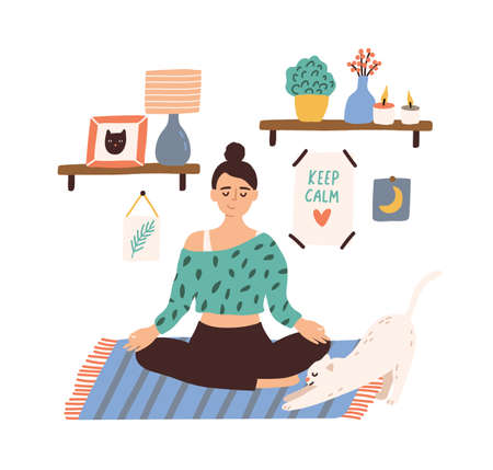 Meditating woman sitting in lotus pose with closed eyes vector flat illustration. Female with crossed legs practicing yoga at home isolated on white. Smiling girl enjoying time for yourself