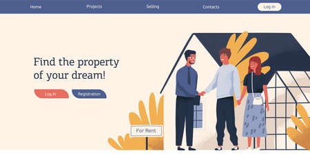 Web advertising template real estate agency vector flat illustration. Happy couple and smiling agent shaking hands celebrate renting house. Promo with place for text of sell or rent property service