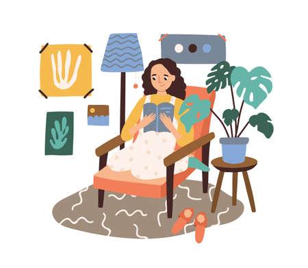 Happy woman reading book sitting in comfy armchair vector flat illustration. Smiling domestic female relaxing at home isolated on white background. Joyful girl enjoying time for yourself