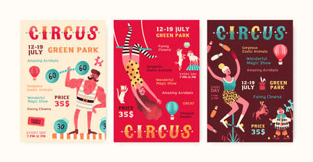 Set of advertisement circus show posters vector flat illustration. Collection of invitation with man, woman and trained animals performing tricks. Promo of entertainment event with place for text Vektorgrafik
