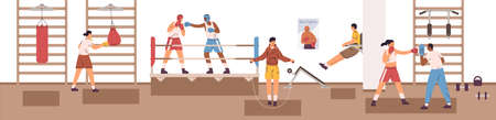 Sports man and woman exercising at box club vector flat illustration. Diverse people in boxer gloves practicing fight each other on arena ring or punching bag. Person training at gym