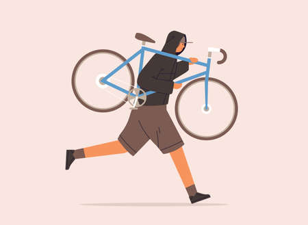 Male carrying broken bike to repair service vector flat illustration. Criminal guy in cap running with raising up bicycle during robbery isolated on white background. Man in hoodie stealing vehicle