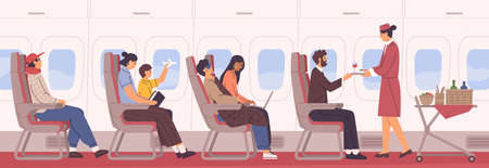 People sit on armchair at airplane side view vector flat illustration. Friendly stewardess with food and drink cart in aisle. Man, woman and kid at cabin interior. Passenger and personnel inside jet