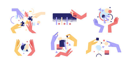 Set of colorful cartoon human hands use different abstract things vector flat illustration. Arms holding figure during teamwork, research, assembly and analytics isolated. Concept of manual activity