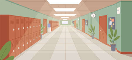 Colorful school corridor with window, doors and cupboards vector illustration. Empty college hallway interior with potted plants, clock and water cooler. Aisle inside of educational building