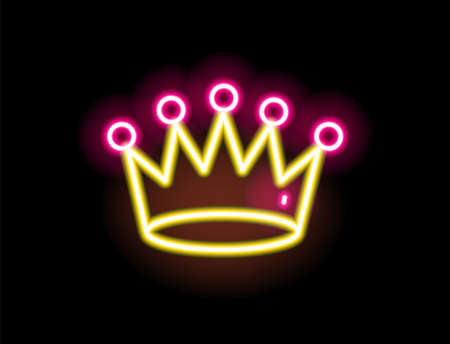 Bright yellow and red glowing neon light crown vector flat illustration. Colorful fashion sign isolated on black background. Royalty symbol trendy design element in outline style