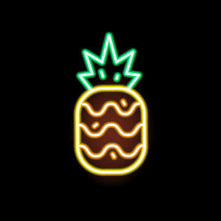 Glowing neon light pineapple shape vector flat illustration. Exotic fruit fashion icon isolated on black. Decorative symbol or trendy design element. Signboard decoration with tropical fruitage