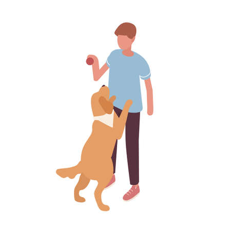 Guy playing with dog hold ball vector isometric illustration. Colorful owner and pet having fun together isolated on white. Doggy stand on rear paws. Friendship between man and domestic animal Vectores