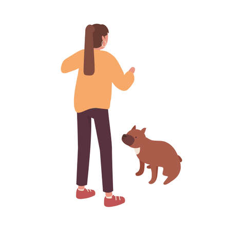 Active female pet owner training her dog vector isometric illustration. Colorful woman playing with cute domestic animal isolated on white background. Girl coaching doggy to performing command