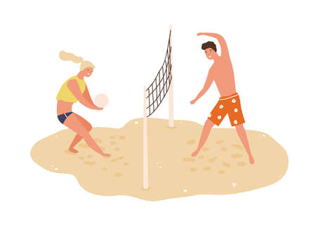 Smiling man and woman playing volleyball on beach vector flat illustration. Happy couple toss ball through net stand on sand isolated on white. Sports people enjoying outdoor summer activity together Ilustracja