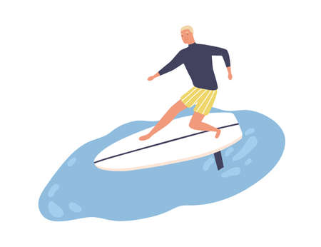Active male enjoying surfing vector flat illustration. Smiling surfer in swimwear standing on surfboard at sea or ocean isolated on white. Cute guy ride on wave during season extreme sports activity Ilustrace
