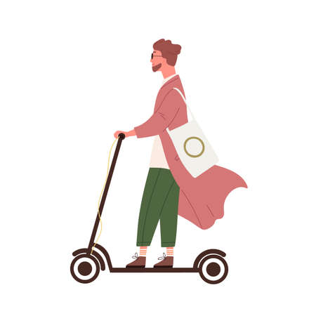 Hipster guy riding on electric kick scooter vector flat illustration. Funny trendy man use modern vehicle isolated on white background. Colorful bearded male drive motorized transportation