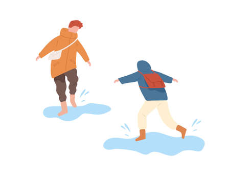 Funny kids running and jumping on puddle vector flat illustration. Boys in seasonal clothes having fun together isolated on white. Children in rubber boots walking on street enjoy water splash