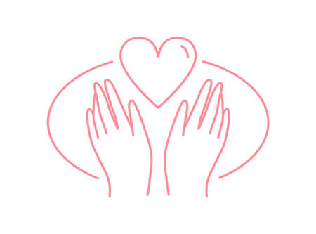 Human hands with heart vector flat illustration in line art style. Symbol of love, care and protection in palms isolated on white background. Contour emblem of kindness and charity