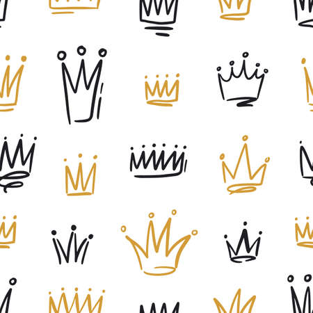 Hand drawn black and golden crowns seamless pattern. Doodle symbols of monarchy with colorful contour lines vector illustration. Drawing prince, princess, queen or king sign with design elements