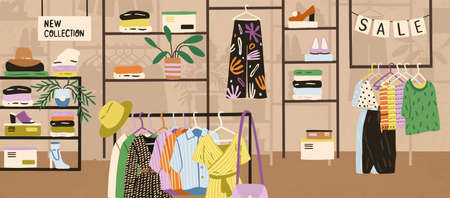Interior of modern fashionable boutique vector flat illustration. Colorful clothes, shoes and accessories assortment on shelves and hangers. Shopping mall or store area with different goods
