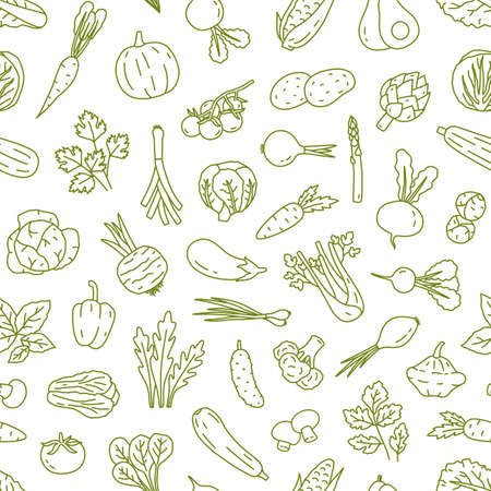 Natural organic vegetables in monochrome color line art style seamless pattern. Fresh harvest seasonal products of agricultural cultivated vector illustration. Cute ingredients for cook and eat