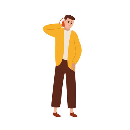 Unhappy guy suffering from neck pain vector flat illustration. Upset man feeling muscle or joint injury isolated on white background. Sad male touching body with painful expression