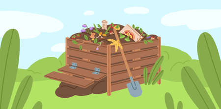 Compost box with bio recycling garbage vector illustration. Pile of waste products for organic fertilizer. Agricultural gardening recycle. Bin with natural trash to reduce environmental pollution