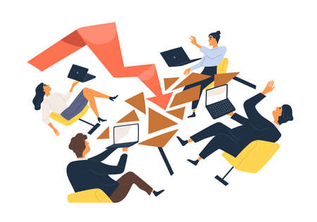 Business man and woman during economic crisis vector flat illustration. Team of office workers with laptop falling from chair isolated. Global finance problem, losing profits or company bankruptcy