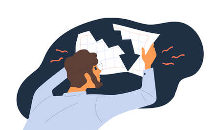 Shocked male hold document with financial graph downturn vector flat illustration. Economist guy looking on global economy crash and losing profit of company isolated. Business failure or bankruptcy Illusztráció
