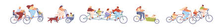 Set of children with parents on bicycles vector illustration. Collection of different active families cycling together isolated on white. Men, women, kids and dogs enjoy outdoors activities Ilustracja