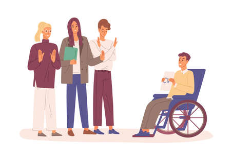 Disabled man with cv in wheelchair trying to find job vector flat illustration. Employers rejected resume of handicapped male isolated on white. Discrimination against people with disabilities. Ilustração