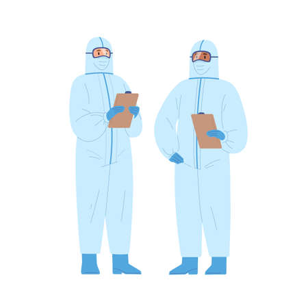 Two diverse male doctors in protective suits holding clipboard vector illustration. Medical staff wearing uniform standing together isolated on white. Emergency aid workers in safety clothes. Ilustração Vetorial