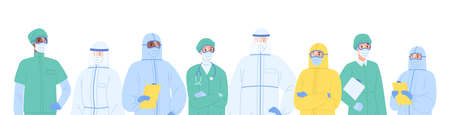 Portrait diverse team of medical specialists in protective clothes vector illustration. Colorful nurses and doctors standing together isolated on white. Man and woman physicians in workwear.  イラスト・ベクター素材
