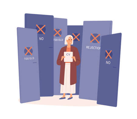 Elderly woman with rejected cv by employer vector flat illustration. Aged female surrounded by closed doors isolated on white background. Difficulties to find job by mature people.