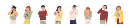 Set of regret or embarrassed people vector illustration. Collection of disappointed man and woman hide face behind hands, demonstrate facepalm gesture or ashamed expression isolated on white.