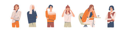 Set of different thoughtful people vector illustration. Collection of various man and woman thinking or making decision isolated on white. Colorful pensive person sit on table, touching head or chin. Vector Illustration